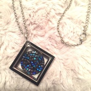 Stainless Steel Locket with Swarovski Crystal Coin